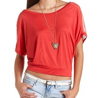 Chiffon Inset Banded Bottom Tee: Charlotte Russe
