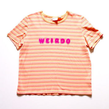 Weirdo Upcycled T-Shirt Orange Pink Striped Shirt Grunge Punk Pastel Goth Kawaii Hipster Graphic Tee
