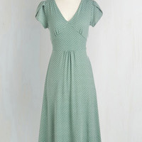 40s Long Short Sleeves A-line Word to the Blithe Dress in Sage