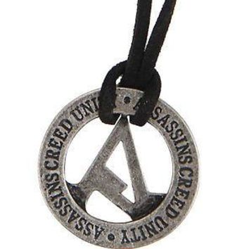 Licensed cool NEW Assassins Creed Unity Circular Logo Pendant Black Cord Necklace Licensed