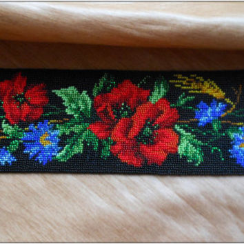 "belt, beadwork ""Wildflowers"" Ukrainian clothes, Ukrainian necklace Ukrainian Gerdan, handmade, Czech beads"