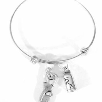Adjustable Bangle Charm Bracelet Stethoscope RX Medicine Bottle Nurse Pharmacy