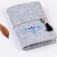 Embroidery Tassel Wool Felt Notebook