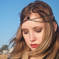 Gunmetal, Hematite, Chain headdress, headband, head chain, head piece, head jewelry, with black bead center piece