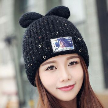 DCCKJG2 Kawaii Style Cat Knitted Caps Ear Warm Printed Women Hats  Wool Knitted Beanies Winter Hat Colorful