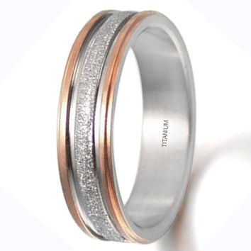 CERTIFIED 6mm Groom or Bride Two Tone Rose Gold Titanium Couple Wedding Ring