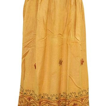 Women's Medieval Skirt Yellow Floral Embroidered Rayon Gypsy Long Skirt