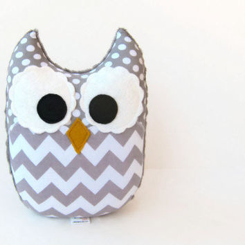 Gray Chevron Owl Plush Baby Toy Mini Pillow Softie