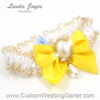 White and Yellow WEDDING GARTER Gold Bridal Lace Garter 112 White 645 Sunglow Yellow Bright Prom Garter Plus Size & Queen Size Available too