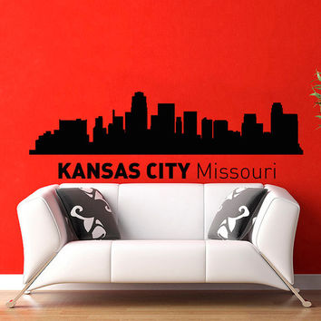 Kansas City Missouri Skyline City Silhouette Wall Vinyl Decal Sticker Home Decor Art Mural Z492