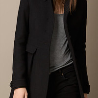 Wool Blend Twill Coat with Leather Undercollar