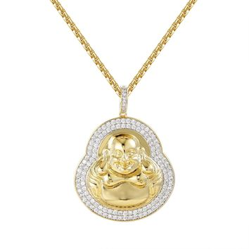 "Iced Out Designer Religious Buddha 14k Gold Finish Pendant Free 24"" Box Chain"