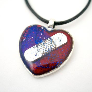 Red & Blue CHD Awareness Necklace