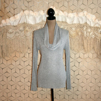 Gray Silver Metallic Sweater Top Cowl Neck Sweater Long Sleeve Dressy Sweater Long Drape Neck Sparkly Ribbed Knit Medium Womens Clothing