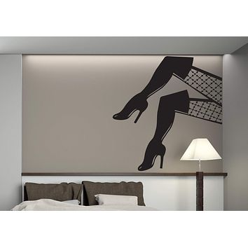 Vinyl Decal Beauty Woman Wall Sticker Graceful Female Sexy Legs Stockings Treads Unique Gift (n380)