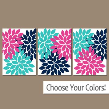 Flower Wall Art, Navy Turquoise Pink Wall Art, CANVAS or Prints, Girl Bedroom Pictures, Bathroom Decor, Flower Petal Art, Set of 3 Pictures