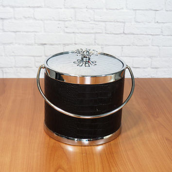 Black Faux Croc and Chrome Ice Bucket with Starburst Handle by COLONY / Retro Atomic Barware