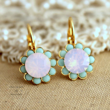 Swarovski Pink Opal and Mint Green Flower Gold earrings - 18k plated gold earrings real Swarovski rhinestones