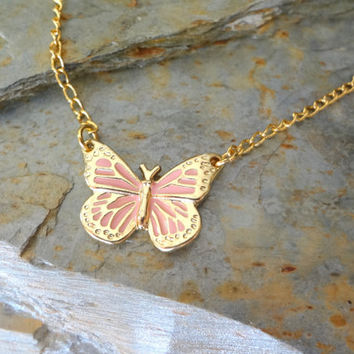 Hand Enameled Butterfly Necklace.  Bridesmaid Gift. Mother Daughter Necklace. Delicate Simple Necklace. Pink Yellow Butterfly.