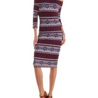 Off-the-Shoulder Tribal Bodycon Dress by Charlotte Russe