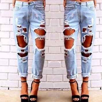 Women's Clothing Design Hole Jeans