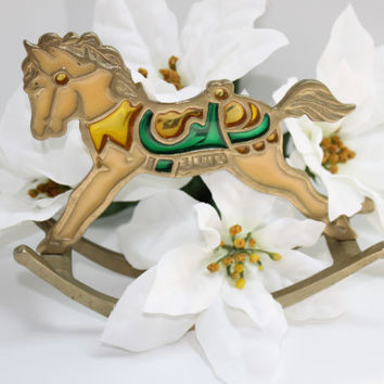 Brass Rocking Horse Merry-go-Round Carousel with Color Inlay