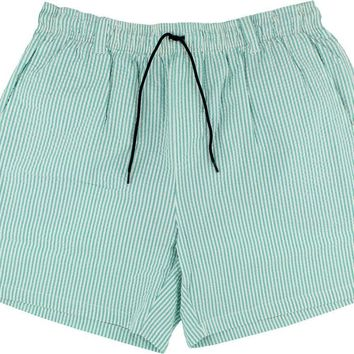 Dockside Swim Trunk in Jockey Green Seersucker with Navy Duck by Southern Marsh