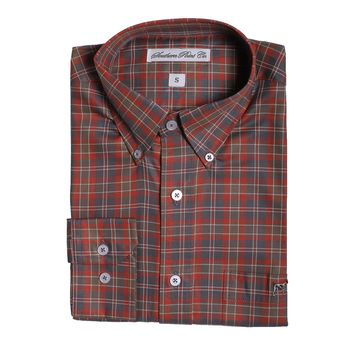 The Hadley Shirt in Grey and Olive Plaid by Southern Point - FINAL SALE