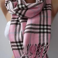 Gorgeous Scarf   Elegant and Classy ....Pink and  plaid