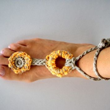 Boho Jewelry Anklet Hippy Chic Nude shoes Barefoot Sandals Yoga Bohemian Yellow Sun Summer fashion