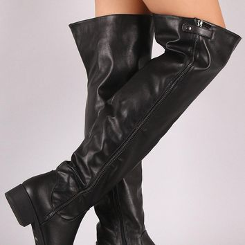 Bamboo Zipper Trim Over-The-Knee Riding Boots