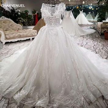 LSS004 Luxury wedding dress beading ball gown lace up short sleeve 3D flowers bridal gowns cathedral train real photos