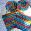 2 Eco Friendly Dish Cloths & 2 Tawashi Scrubbers - Kaleidoscope - Textured Crocheted Cheerful Reusable
