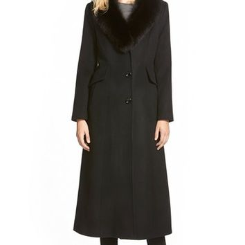 Sachi Genuine Fox Fur Shawl Collar Long Wool Blend Coat (Regular & Petite) | Nordstrom