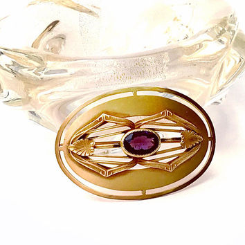 Art Nouveau Sash Pin, Victorian, Amethyst faceted Glass, Gold Gilt, Oval Domed Shape, Antique 1900-1915, Signed E.A.P, Art Nouveau Jewelry