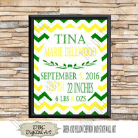 Green & Yellow Baby Stats, Wall Art, Birth Announcements, 8 x 10 for Girls Nursery Room, Kids Room Décor, Digital Wall Art, Chevron Wall Art