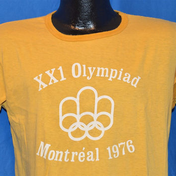 70s Montreal Canada Olympics XXI Olympiad Ringer t-shirt Large