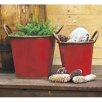 Set of 2 Red Rustic Buckets with Handles