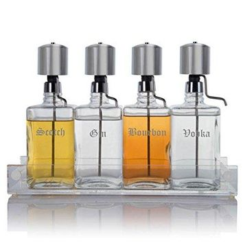 Liquor Decanter Bar Set with Chrome Pump Dispensers and Acrylic Tray, Old English Font