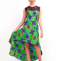 Lace Top African Print High-Low Dress