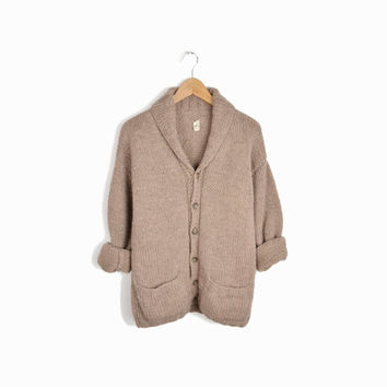 Vintage Men's Shawl Collar Cardigan Sweater in Taupe - men's small