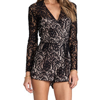 Dolce Vita Clarice Stretch Floral Lace Romper in Black