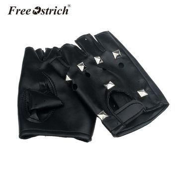 Free Ostrich PU Leather Gloves Round Nail Luva Punk Hip-hop Half-finger Motociclista Tactical Gloves Without Fingers A3120