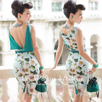 FREE SHIPPING Le Palais Vintage 2016 Summer New Arrival Elegant Light Blue Big Flowers More Wearing Backless Slim Pencil Dress