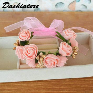 Wedding Artificial Flower Bracelet Garland Corsage with Ribbon Pink Gold Bridesmaid Hand Wrist Flowers Marriage Accessories