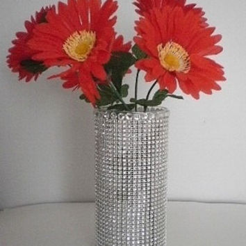 "BLING & DIAMOND WRAP Glass Vase - Sparkling Clear Glass Cylinder Vase w/ Silver Diamond Wrap and Clear Rhinestones - 7"" or 10"" tall"