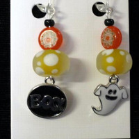 Halloween Earrings, Glass painted beads, Dangle Ghost charms, Handcrafted, Millefori Beads