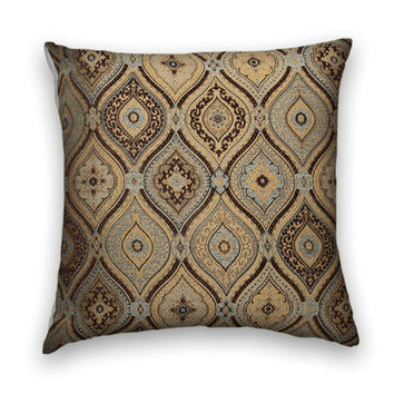 Brown, Blue Pillow Cover--Decorative Throw Pillow--Chenille, 20 x 20