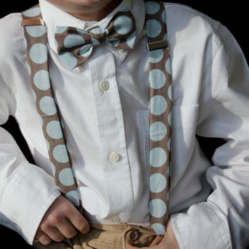 Boy's Bow tie and Suspenders in Gray and Blue Retro Dot  - clip on