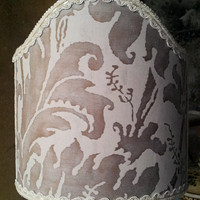 Clip-On Shield Shade Fortuny Fabric Grey & White Lucrezia Pattern Half Lampshade - Handmade in Italy